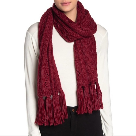 Michael Kors Burgundy Pointelle Cable Knit Scarf